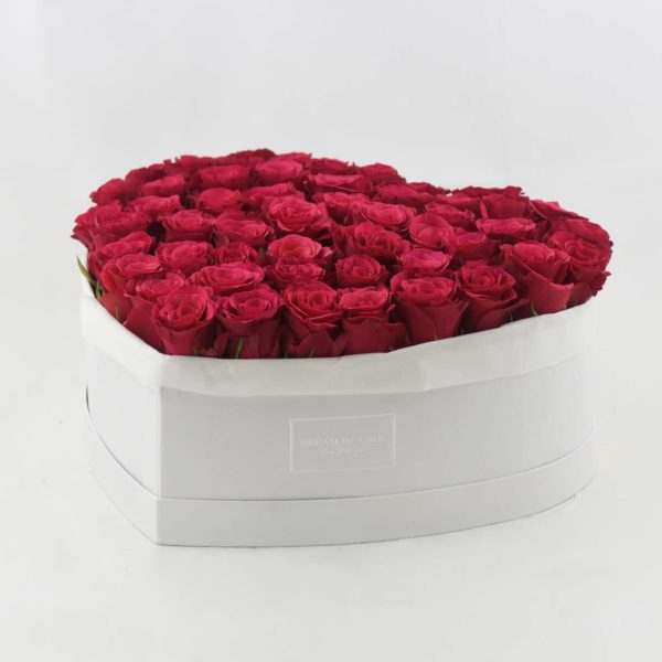 Dream of You scatola bianca di rose rosse a incasso verticale