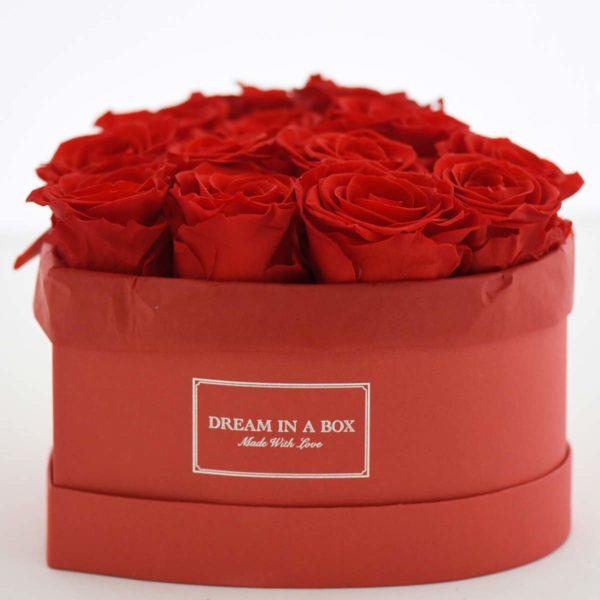 Dream a Little Dream Scatola rossa a forma di cuore con rose rosse stabilizzate