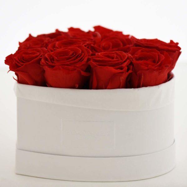 Dream a little Dream Scatola bianca a forma di cuore con rose rosse