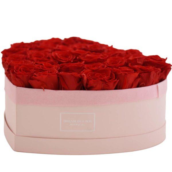 Dream of You scatola rosa a forma di cuore con fiori rossi