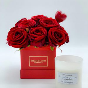 mini square san valentino special package rose rosse fresche e candela dreaming rose