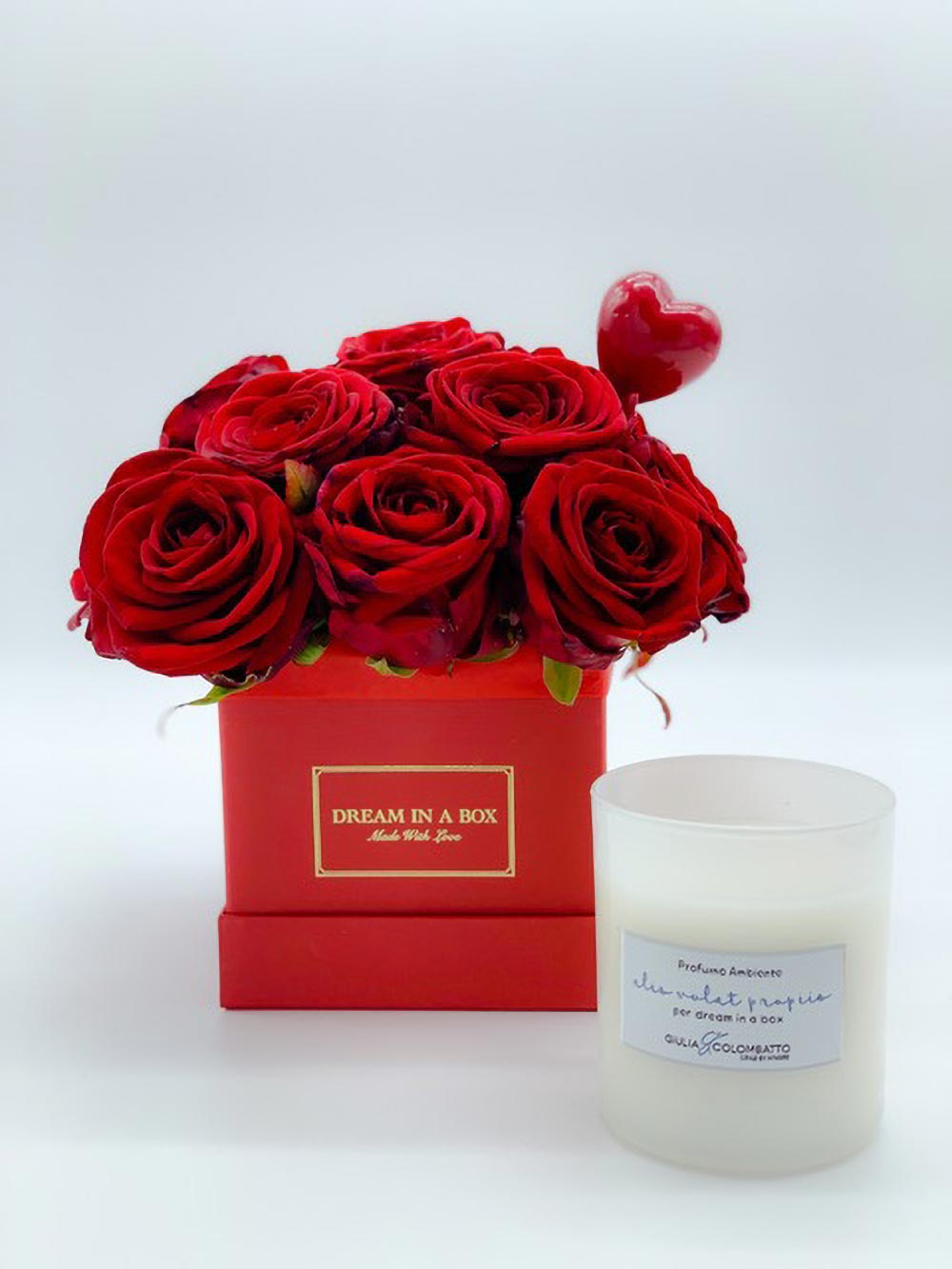 mini square san valentino special package rose rosse fresche e candela dreaming rose
