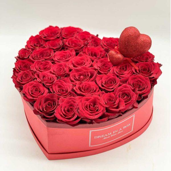 Dream of you box con rose rosse e doppio cuore glitter