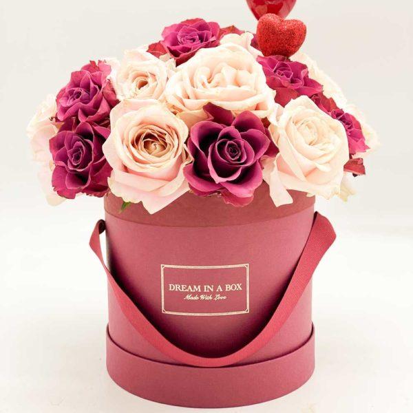 Winter dream box bordeux con rose sweet-avalanche e rose prugna-ascott doppio cuore lucido